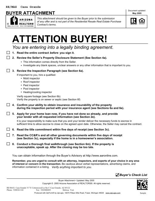 Arizona Purchase Contract Buyer Attachment Melissa Yost Fuentes
